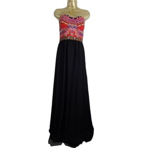NWT Soieblu Strapless Embroidered Long Dress Large